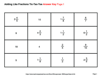 Adding Like Fractions Tic-Tac-Toe