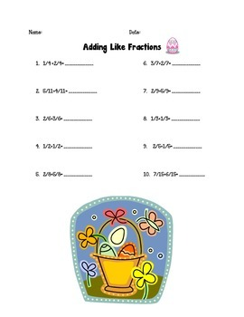 Adding Like Fractions Without Simplifying Easter
