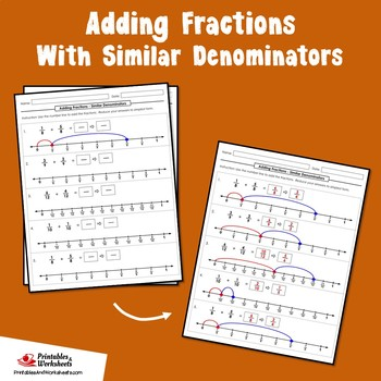 Adding Like Fractions on a Number Line, Up to 1 Number Line, Up to 1