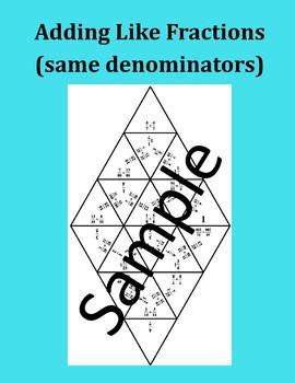 Adding Like Fractions (same denominators) – Math Puzzle