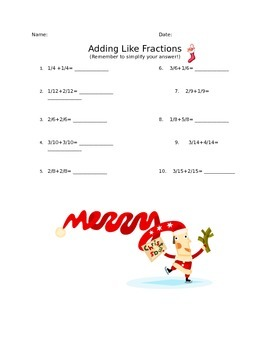 Adding Like Fractions with Simplifying Christmas