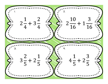 Adding Mixed Numbers with Like Denom. Differentiated Word Problem Task Cards