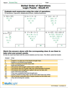 Adding Like Terms Group Activity   Logic Puzzle