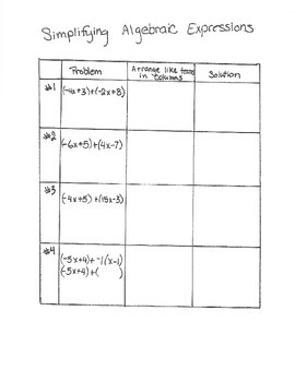 Adding Linear Expressions Activity (7.EE.1; Mathematical P