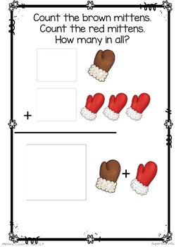 Adding Mittens Count, Add and Learn by 3's WINTER EDITION
