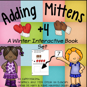 Adding Mittens Count, Add and Learn by 4's WINTER EDITION