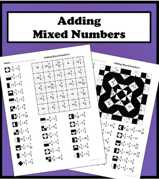 Adding Mixed Numbers Color Worksheet