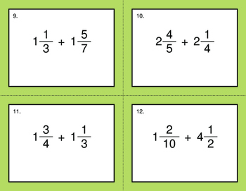 Adding Mixed Fractions - BINGO and Task Cards
