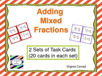 Adding Mixed Fractions---Task Cards