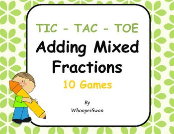Adding Mixed Fractions Tic-Tac-Toe