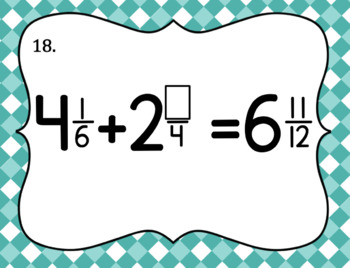 Adding Mixed Number Fractions Task Cards
