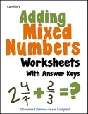Adding Mixed Numbers With Unlike Denominators Worksheets, Includes Like Denom