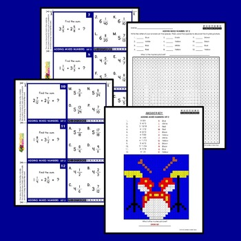 Adding Mixed Numbers Activities, Mystery Pictures Task Cards Fraction Coloring