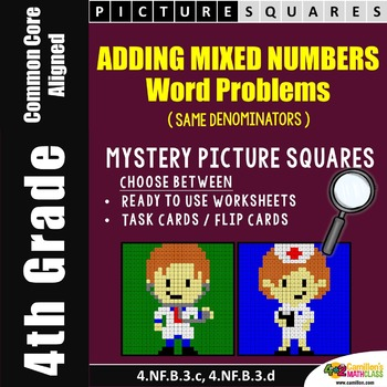 Adding Mixed Numbers With Like Denominators Word Problem Coloring Worksheets