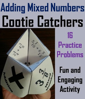 Adding Mixed Numbers with Unlike Denominators Game/ Activity 4th 5th 6th Grade