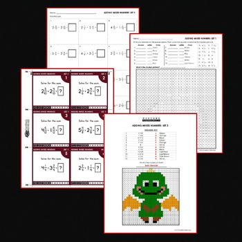 Adding Mixed Numbers with Like Denominators, Mystery Pictures Activity