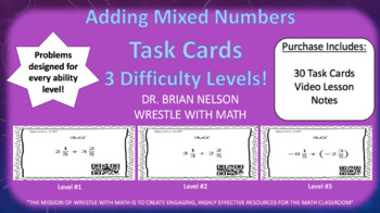 Adding Mixed Numbers (30 Task Cards – 3 different levels!)
