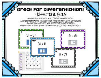 Adding Mixed Numbers Digital Task Cards for Google Drive