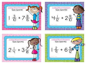 Fraction Task Cards - Adding Mixed Numbers - SCOOT