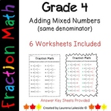 Adding Mixed Numbers Like Denominators Fraction Worksheets