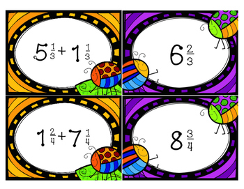 Adding Mixed Numbers Matching Cards