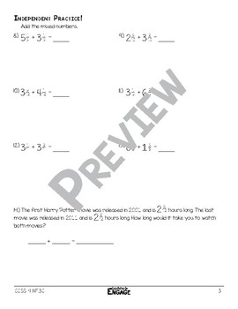 Adding Mixed Numbers Math Video and Worksheet