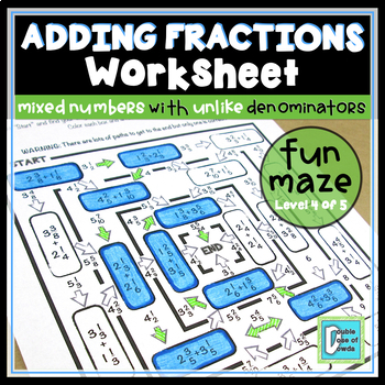 Adding Mixed Numbers Maze