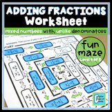 Adding Mixed Numbers with Unlike Denominators Worksheet