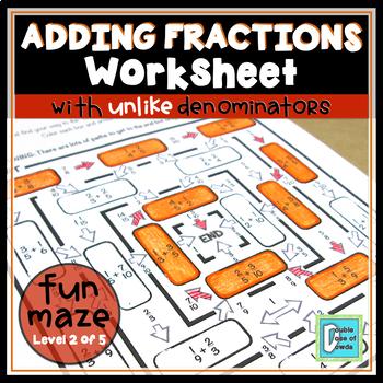 Adding Fractions with Unlike Denominators Maze