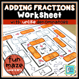 Adding Fractions with Unlike Denominators Worksheet | Dist