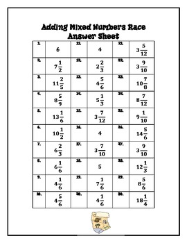 Adding Mixed Numbers Race - Math Workstation Activity
