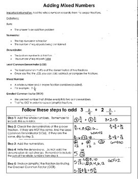 Adding Mixed Numbers Resource