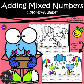 Adding Mixed Numbers   SPRING   Color-by-Number Worksheets
