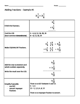 Adding Mixed Numbers Step by Step notes