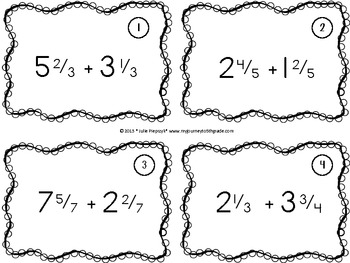 Adding Mixed Numbers Task Cards