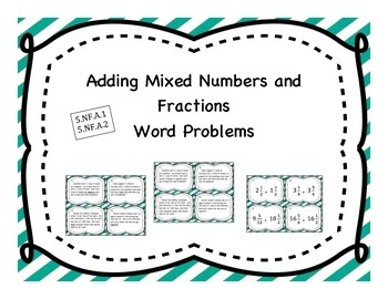 Adding Mixed Numbers Differentiated Word Problem Task Cards