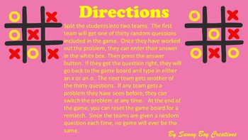 Adding Mixed Numbers Tic Tac Toe Powerpoint Game
