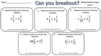Adding Mixed Numbers – Two Breakout Activities!