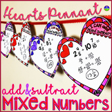 Adding Mixed Numbers Valentine's Day Heart Pennants