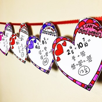 Add and Subtract Mixed Numbers Valentine's Day Heart Pennants