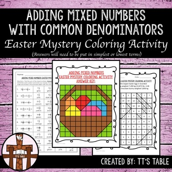 Adding Mixed Numbers With Common Denominators Easter Myste