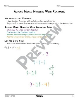 Adding Mixed Numbers With Renaming Math Video and Worksheet