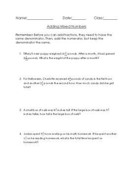 Adding Mixed Numbers-Word Problems