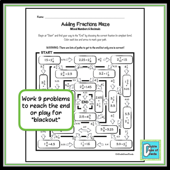Adding Mixed Numbers and Decimals Maze