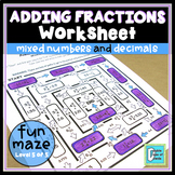 Adding Mixed Numbers and Decimals Worksheet