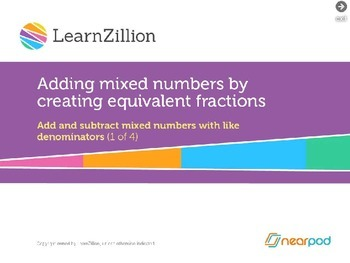 Adding Mixed Numbers by creating equivalent fractions