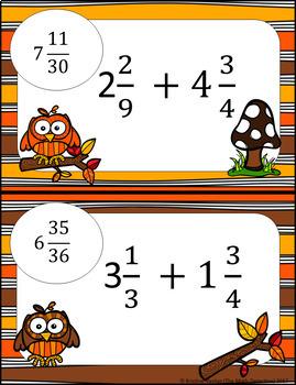 Adding Mixed Numbers (unlike D) Computation - Math Scavenger Quest