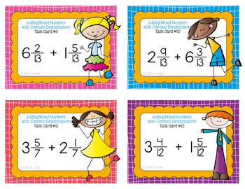 Fraction Task Cards - Adding Mixed Numbers with Common Denominators - SCOOT