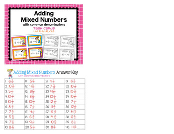Fraction Task Cards Adding Mixed Numbers with Common Denominators