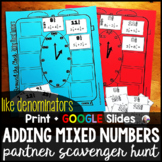 Adding Mixed Numbers with Like Denominators Partner Scavenger Hunt